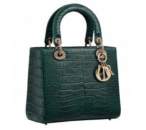 Lady Dior Hunter Green Croc Bag - Fall 2019