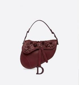 Dior Maroon 3D Flowers Saddle Bag - Fall 2019