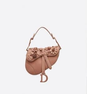 Dior Pink 3D Flowers Mini Saddle Bag