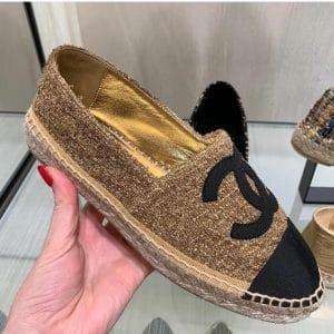 Chanel Gold Tweed Espadrilles