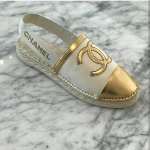 Chanel Gold Espadrilles Slingback with Logo Strap