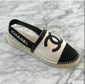 Chanel Black White Espadrilles with Logo Strap