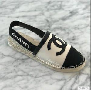 Chanel Black White Espadrilles with Logo Strap