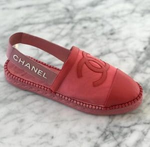 Chanel Red Espadrilles Slingbacks with Logo Strap