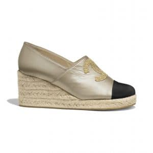 chanel-espadrilles-gold-black-lambskin 1