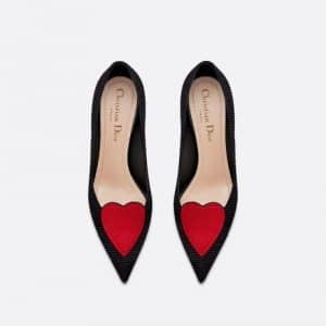 Dior Black Fabric Heart Embroidered Pumps