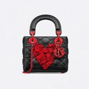 Dior Black Heart Embroidered Mini Lady Dior Bag
