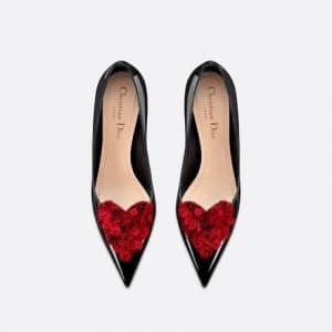 Dior Black Patent Heart Embroidered Pumps