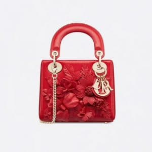 Dior Red Floral Embroidered Mini Lady Dior Bag