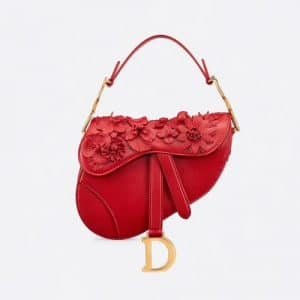 Dior Red Floral Embroidered Saddle Bag