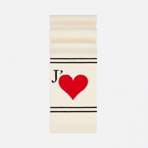 Dior White Dioramour Knit Scarf