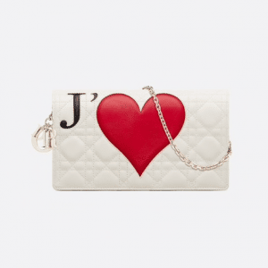 Dior White Dioramour Lady Dior Clutch Bag