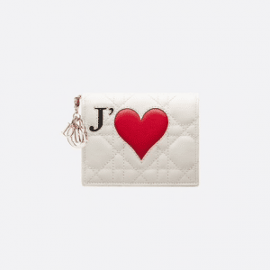 Dior White Dioramour Lady Dior Wallet