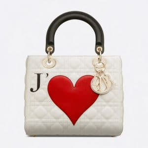 Dior White Je T'aime Lady Dior Bag