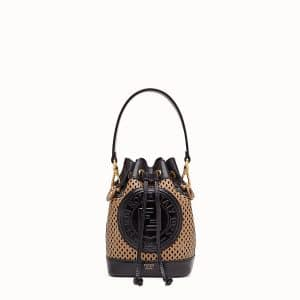 Fendi Beige:Black Perforated Mon Tresor Bag