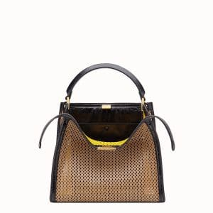Fendi Beige:Black Perforated Peekaboo X-Lite Medium Bag