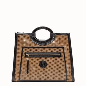 Fendi Beige:Black Perforated Runaway Shopper Bag