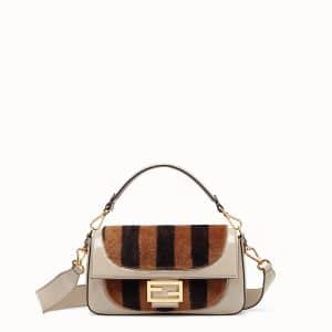 Fendi Beige/Brown/Black Patent:Sheepskin Baguette Bag