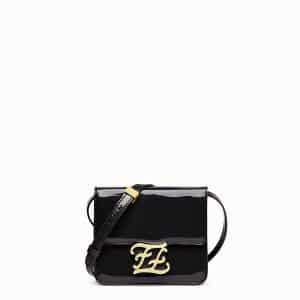 Fendi Black Patent Karligraphy Bag