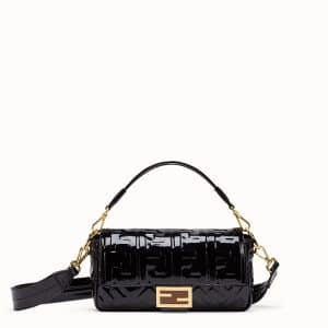 Fendi Black Vinyl Baguette Bag