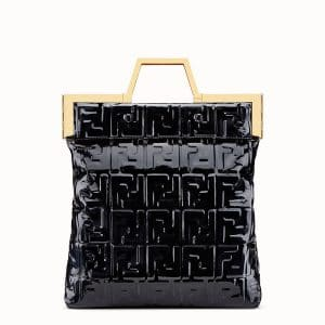 Fendi Black Vinyl Medium Flat Shopping Bag