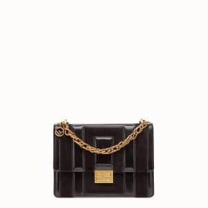 Fendi Black:Brown Leather:Suede Kan U Small Bag