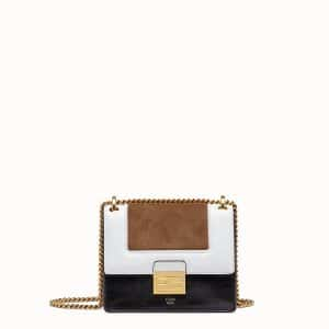 Fendi Black:White:Beige Leather:Suede Kan U Small Bag