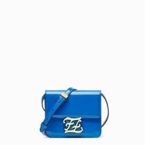 Fendi Blue Patent Karligraphy Bag