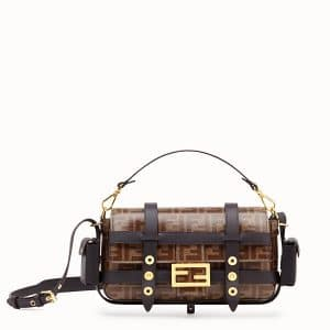 Fendi Brown FF Baguette Bag with Cage