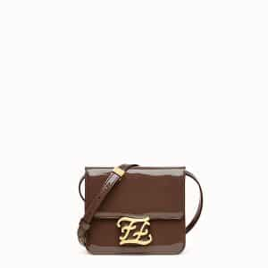 Fendi Brown Patent Karligraphy Bag
