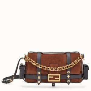 Fendi Brown Suede Baguette Bag with Cage