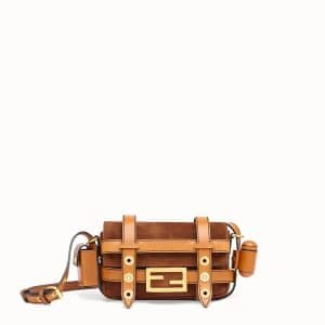 Fendi Brown Suede Mini Baguette Bag with Cage