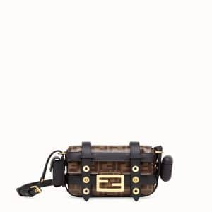 Fendi Brown/Black FF Mini Baguette Bag with Cage