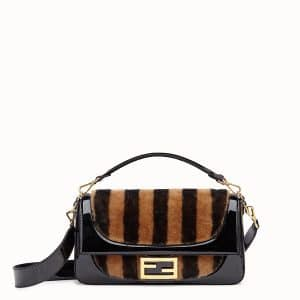 Fendi Brown/Black Sheepskin Patent:Sheepskin Large Baguette Bag