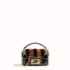 Fendi Brown/Black Sheepskin:Vinyl Mini Baguette Bag