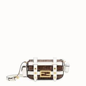 Fendi Brown/White FF Mini Baguette Bag with Cage