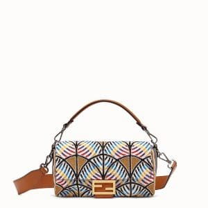 Fendi Multicolor Leaf Embroidered Baguette Bag