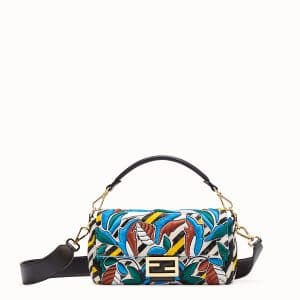 Fendi Multicolor Striped Embroidered Baguette Bag