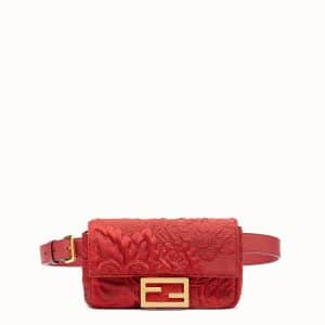 Fendi Red Fabric Embroidered Baguette Belt Bag