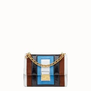 Fendi Turquoise/Brown Leather:Suede Kan U Bag