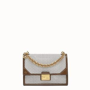 Fendi White:Brown Perforated Kan-U Bag