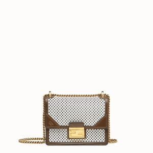 Fendi White:Brown Perforated Kan-U Small Bag