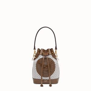 Fendi White:Brown Perforated Mon Tresor Bag