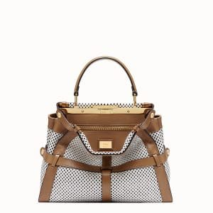 Fendi White:Brown Perforated Peekaboo Iconic Medium Bag