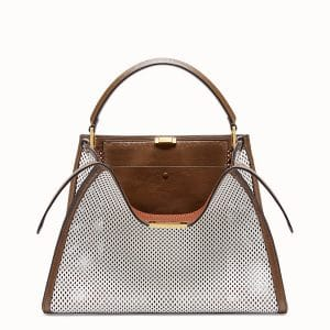 Fendi White:Brown Perforated Peekaboo X-Lite Large Bag