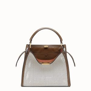 Fendi White:Brown Perforated Peekaboo X-Lite Medium Bag