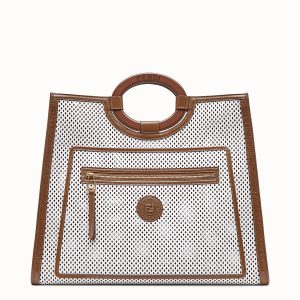 Fendi White:Brown Perforated Runaway Shopper Bag