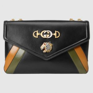 Gucci Black Multicolor Rajah Large Shoulder Bag