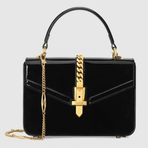 Gucci Black Patent Sylvie 1969 Mini Top Handle Bag