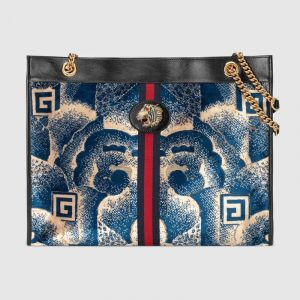 Gucci Blue Cloud Print Velvet Rajah Large Tote Bag